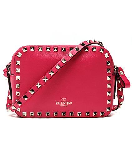 Wiberlux Valentino Women's Rockstud Detailed Zip-Top Mini Real Leather Crossbody Bag