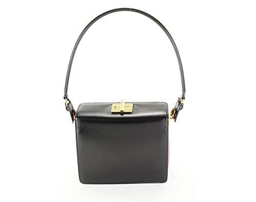 Prada Womens Box Calf Shoulder Bag – Black Leather