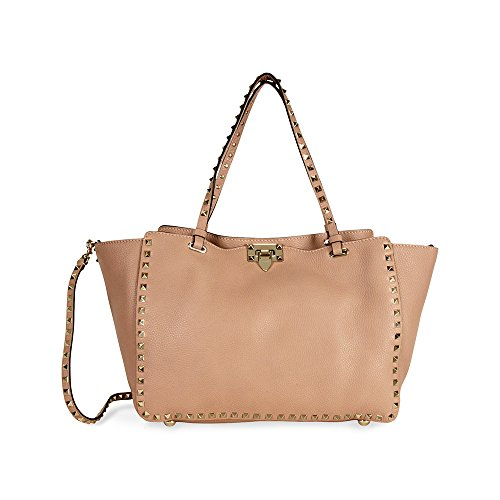Valentino Rockstud Medium Double Handle Leather Tote Bag – Soft Noisette