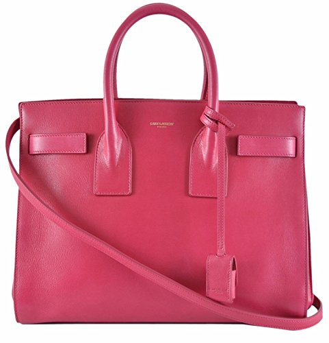 Yves Saint Laurent YSL Pink Leather Sac de Jour Small Handbag Purse W/Strap