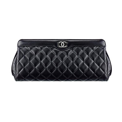 Chanel Clutch Bag Metal Black Lamskin A90902 Y07326 94305 Made in France