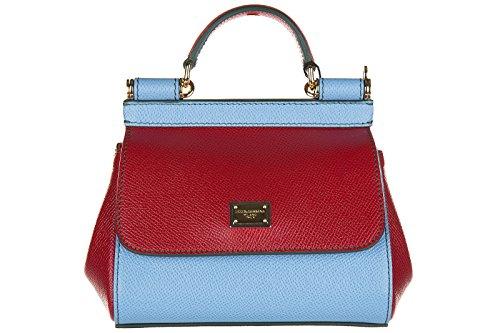 Dolce&Gabbana women's leather handbag shopping bag purse dauphine sicily red