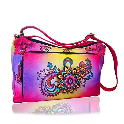 Women's New Fashion Handbag Soft Leather Cross Body Shoulder Bag Vintage Painted Tote Purse
