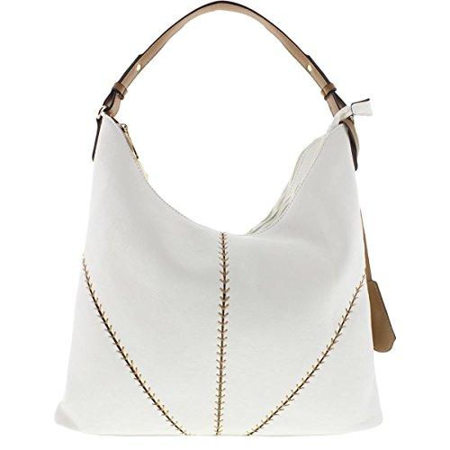 SR Squared by Sondra Roberts Womens Nappa Stitched Lined Hobo Handbag