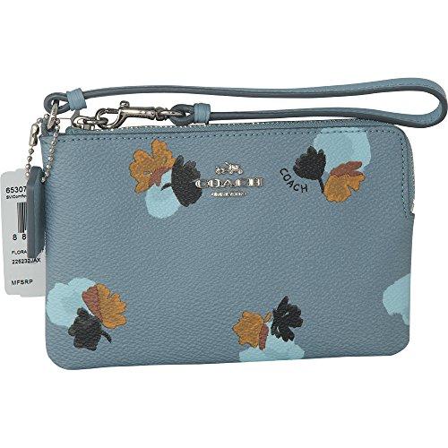 Coach Womens Corner Zip Wristlet In Floral Silvercornflower 65307