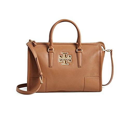 TORY BURCH Britten Leather Satchel, Bark