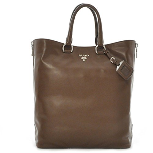 Prada Handbag Soft Calf Leather Shopping Tote Shoulder Bag BN2477, Brown