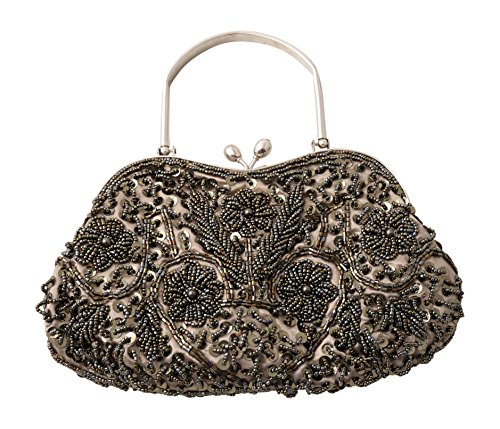 Beaded Sequin Design Metal Frame Satin Interior Evening Handbag Party Clutch