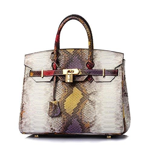 Lalagen Women's Snakeskin Embossed Genuine Leather Top Handle Padlock Bag and Shoulder Handbag