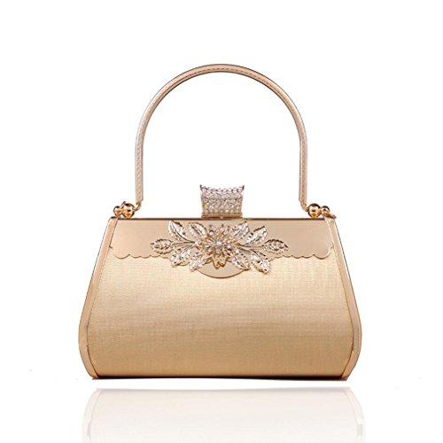 Milano Sky Women's Handbag Evening Bag Flower Metal Golden Clutch Purse for Party Wedding