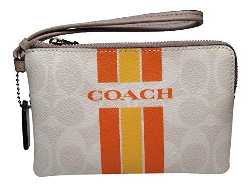 Coach Varsity Stripe Small Wristlet Corner Zip, Chalk and Orange F66052