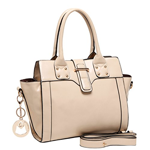 MG Collection ANDIE Beige Top Handle Office Tote Style Satchel Purse Shoulderbag
