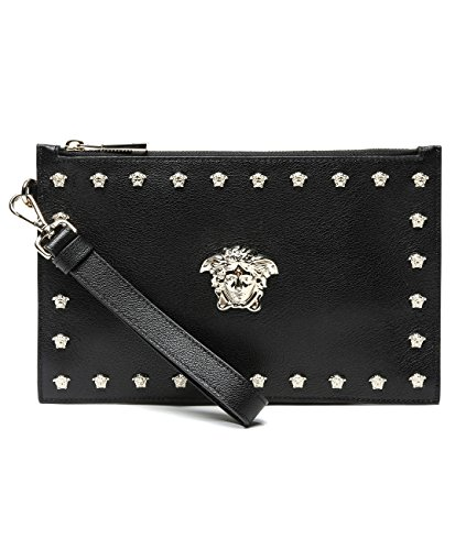 Wiberlux Versace Women's Medusa Head Stud Detailed Real Leather Clutch Bag
