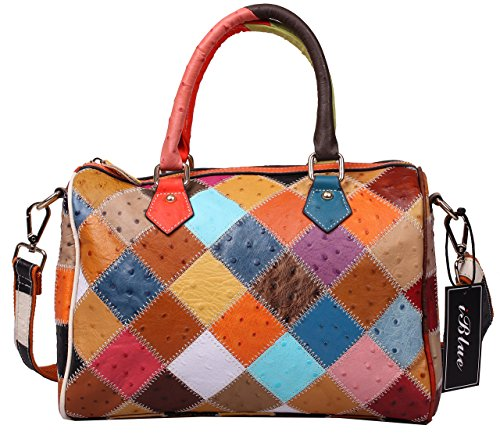 Iblue Womens Genuine Leather Satchel Bag Ostrich Pattern Shoulder Handbag Shoper Tote #87035