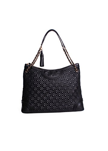 Tory Burch Fleming Quilted Leather Tote Bag Black 595 00