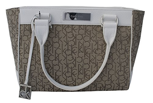 Calvin Klein Logo Jacquard City Shopper Tote Bag Handbag Satchel Brown and White