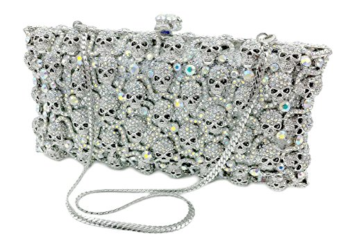 """Skullz"" Diamond Studded Clutch Purse. Swarovski Crystals, 10″ chain, Hard Case, Leather Lined."