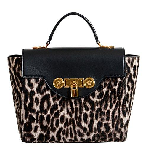 Versace Women's Animal Print Pony Hair Leather Satchel Handbag Shoulder Bag