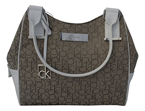 Calvin Klein Logo Jacquard Center Zip Hobo Handbag Satchel Purse Tote Brown and White