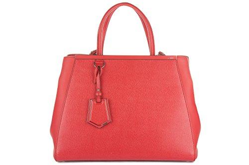Fendi women's leather handbag shopping bag purse 2jours red