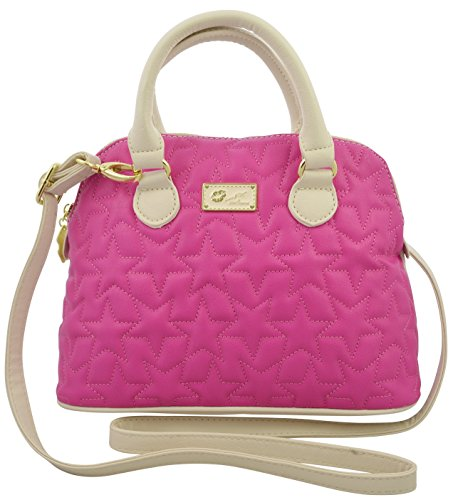 Betsey Johnson Starred Quilted Mini Dome Satchel Fushia