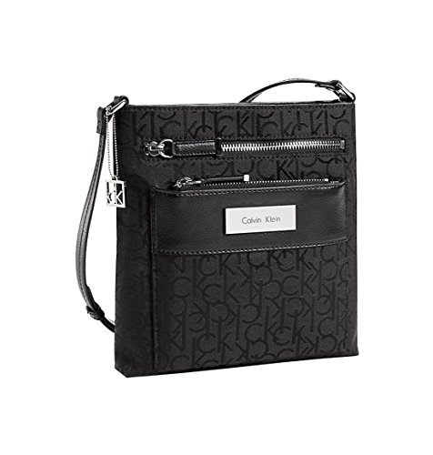 Calvin Klein Logo Jacquard City Flat Pack Crossbody Bag Black