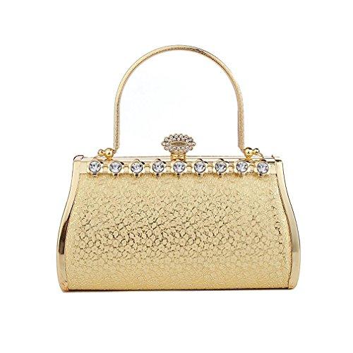 Milano Sky Women's Evening Bag Clutch Purse Rhinestone Golden Handbag Wallet