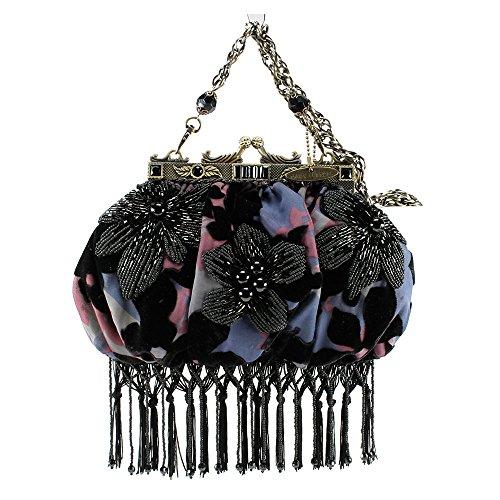 Mary Frances Tropical Nights Black Purple Fringe Velvet Bag New