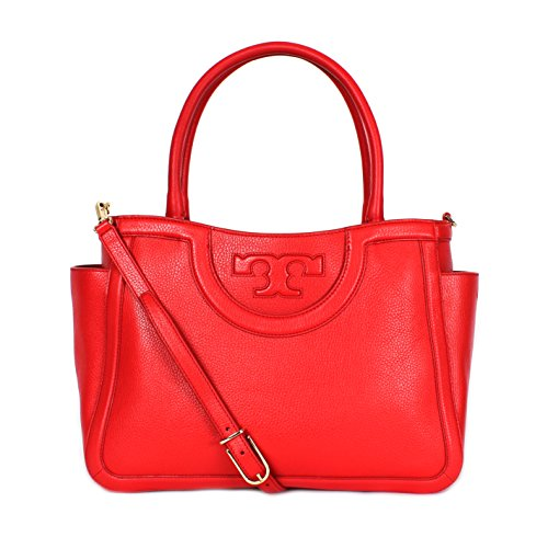 Tory Burch Serif T Satchel Crossbody Red Leather Bag