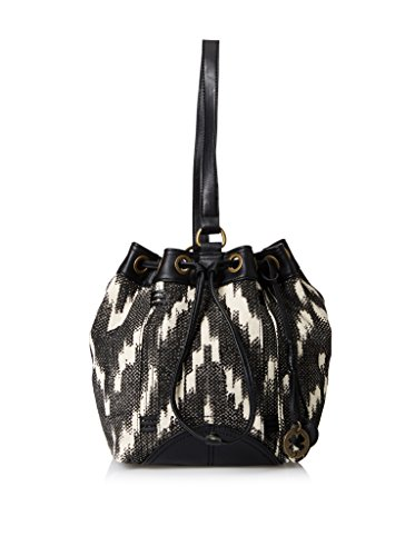 Lucky Brand Womens Bali Hai Sling Fabric Purse (Black/White Zig-Zag Pattern)