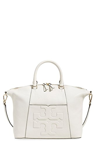 Tory Burch Medium Bombe T Satchel New Ivory Off White Leather Bag