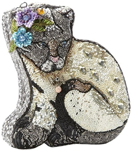 Mary Frances Cool Cat Extensively Beaded Crystal Jeweled Kitty Handbag Shoulder Bag