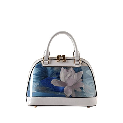 Chinese Style Handmade Embroidery Arts and Crafts Rabber-surface Lotus Flower Women's Geniuen Leather HandBag Shell Shape Shoulder Bag