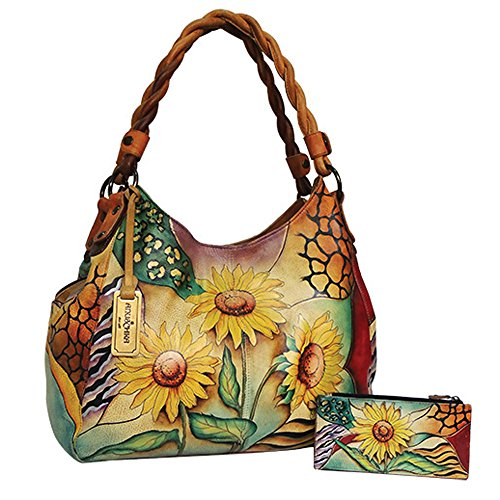 Anuschka Genuine Leather Triple Compartment Shopper w/Braided Handle (Sunflower Safari)