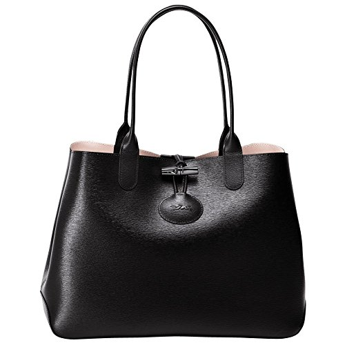 Longchamp Roseau Reversible Tote Medium Black Girl Pink Leather Bag