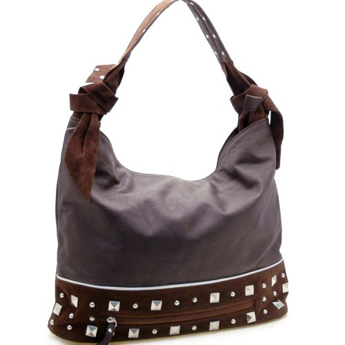 Dasein Designer inspired hobo bag with studs -Coffee