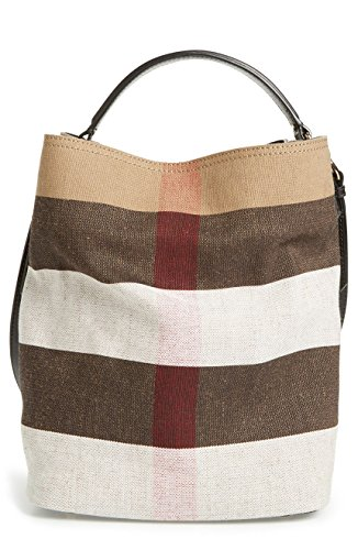 Burberry Medium Ashby Canvas Check Leather Tote – Black