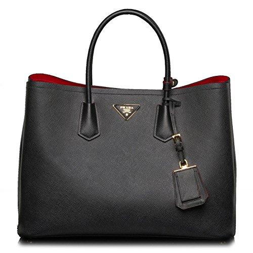 Prada Women's Tote Bag Saffiano Leather in Black Style BN2761