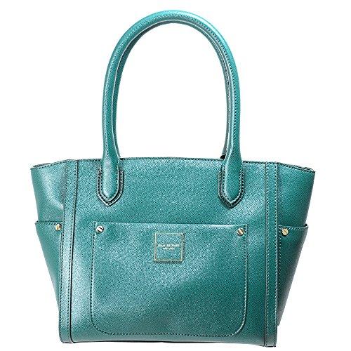 Isaac Mizrahi Womens Fashion Designer Handbags Valerie Saffiano Top Handle Satchel Bag Green