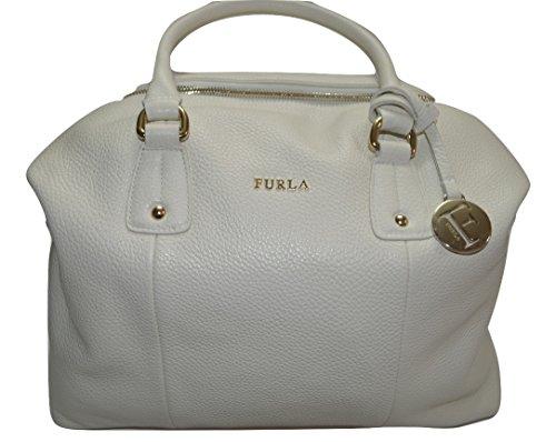Furla Raffaella Leather Satchel Bag, Petalo (White)