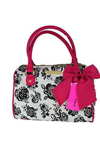 Betsey Johnson Black White Floral Pink Bow Satchel Tote Handbag