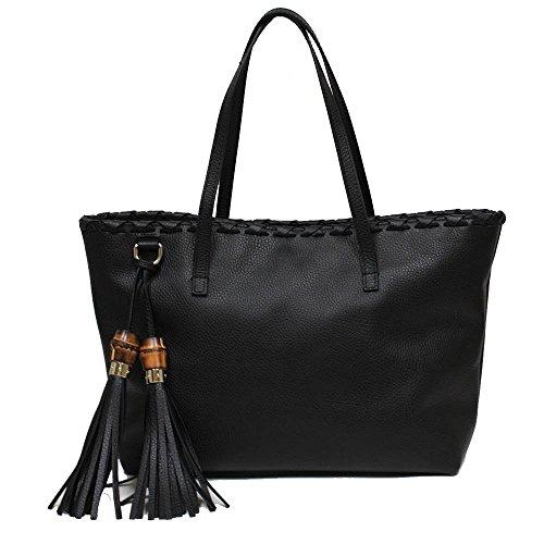 Gucci Black Grain Leather Bamboo Tassel Shoulder Handbag 354665