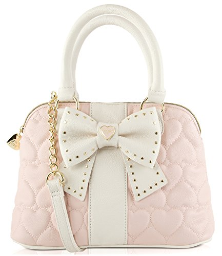 Betsey Johnson Hopeless Romantic Quilted Heart Faux Leather Medium Satchel Shoulder Cross Body Bag