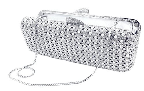 """Papeete"" Pearl & Diamond Studded Clutch Purse. Swarovski Crystals, 10″ chain, Hard Case, Leather Lined."