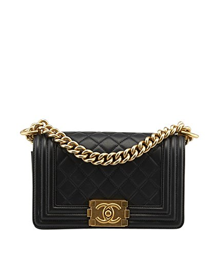 CHANEL Le Boy Bag Black Quilted Lambskin Gold Metal A67085