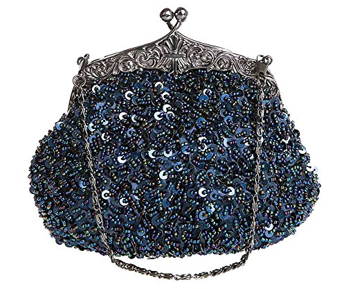 ILISHOP Women's Sequined Evening Clutch Party Wedding Handbag Purse (Darkblue)