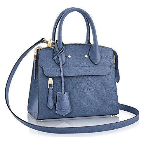 Authentic Louis Vuitton Empreinte Leather Pont-Neuf Mini Tote Cross Body Handbag Article: M41746 Denim