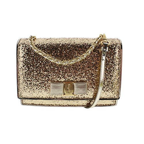 Salvatore Ferragamo Womens Ginny Glitter Coated Leather Clutch Handbag