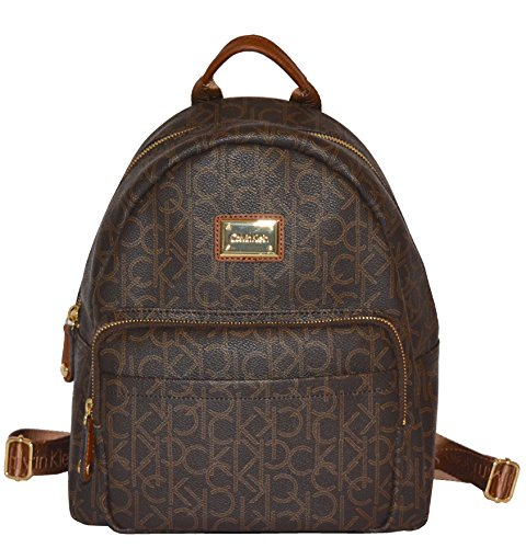 Calvin Klein Women's Bag Monogram Canvas Backpack Satchel Handbag