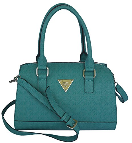 GUESS Signature Embossed Swoon Satchel Crossbody Bag Handbag Purse Turquoise